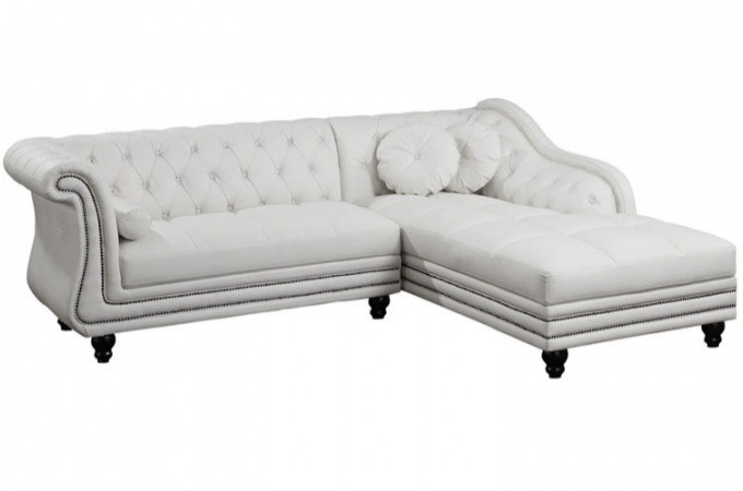 Canapé d'angle droit blanc Chesterfield KATE SoFactory