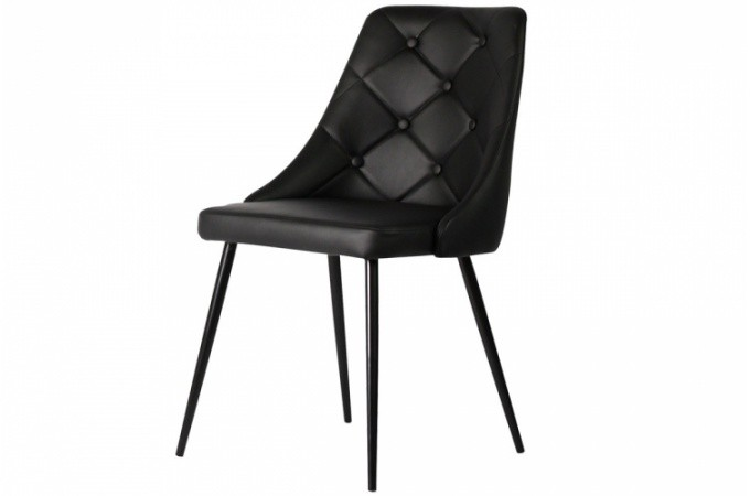 chaise design capitonn e en simili noir hortensia design sur sofactory. Black Bedroom Furniture Sets. Home Design Ideas