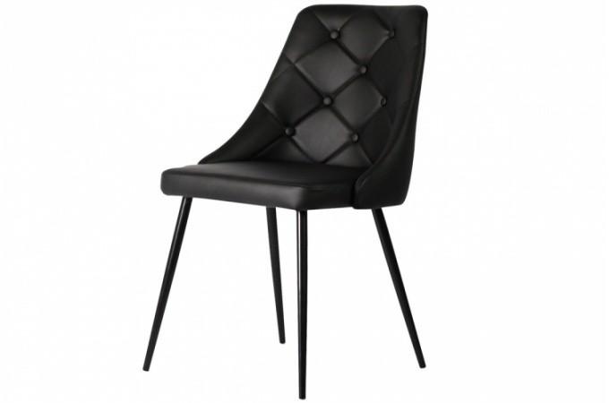 chaise design capitonn e en simili noir hortensia design. Black Bedroom Furniture Sets. Home Design Ideas