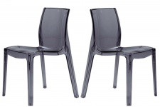 Lot de 2 Chaises Transparentes Anthracite VIENNE