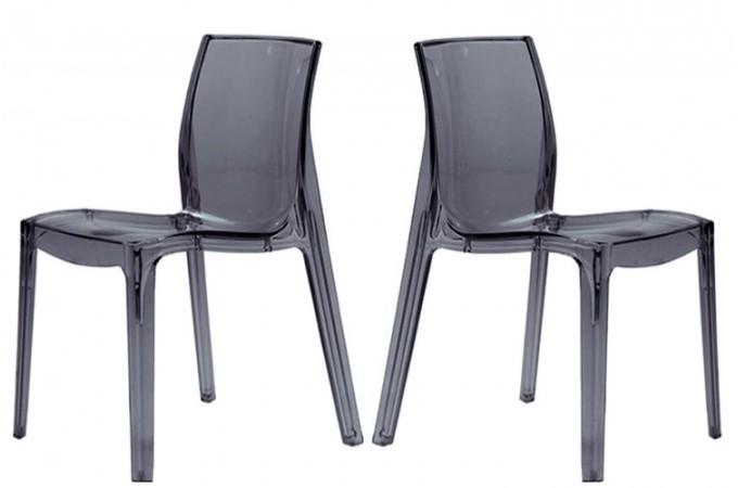Lot de 2 chaises transparentes anthracite vienne design sur sofactory - Chaises transparentes design ...
