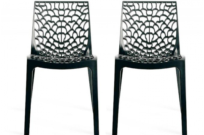 Lot de 2 chaises design grises opaques filet design sur - Chaises design grises ...