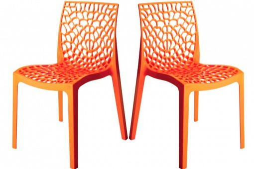Lot de 2 Chaises Design Oranges Opaques FILET SoFactory