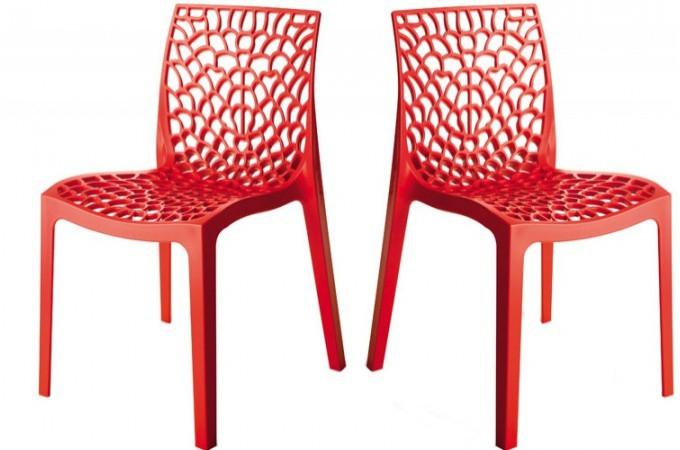 lot de 2 chaises design jaunes opaques filet design pas cher sur ... - Chaises Pas Cheres