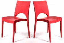 Lot de 2 Chaises Design Rouges DELHI Sofactory