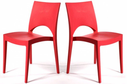 Lot de 2 Chaises Design Rouges DELHI
