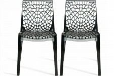 Lot de 2 Chaises Fumées Transparentes FILET