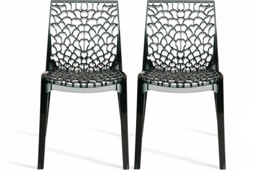 Lot de 2 Chaises Gris Transparent FILET SoFactory