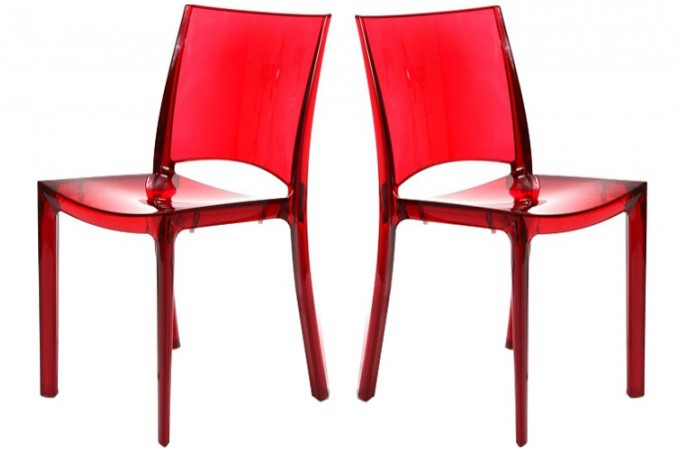 lot de 2 chaises rouge transparent sommet design sur sofactory. Black Bedroom Furniture Sets. Home Design Ideas