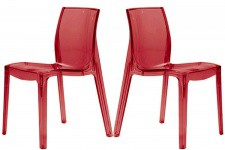 Lot de 2 Chaises Rouges Transparente VIENNE Sofactory