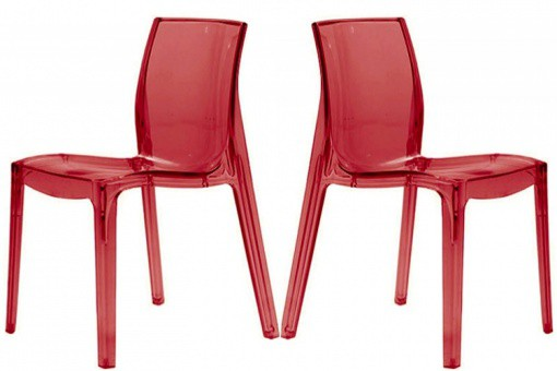Lot de 2 Chaises Rouges Transparente VIENNE