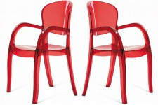 Lot de 2 Chaises Rouges Transparentes VICTORIA Sofactory