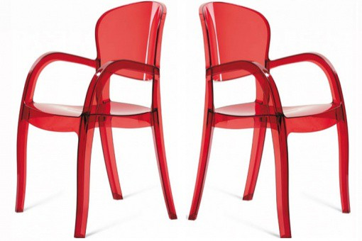 Lot de 2 Chaises Rouges Transparentes VICTORIA