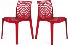 Lot de 2 Chaises Rouges Transparentes FILET Sofactory