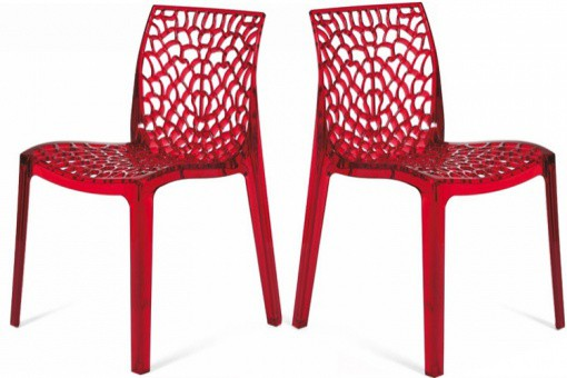 Lot de 2 Chaises Rouges Transparentes FILET