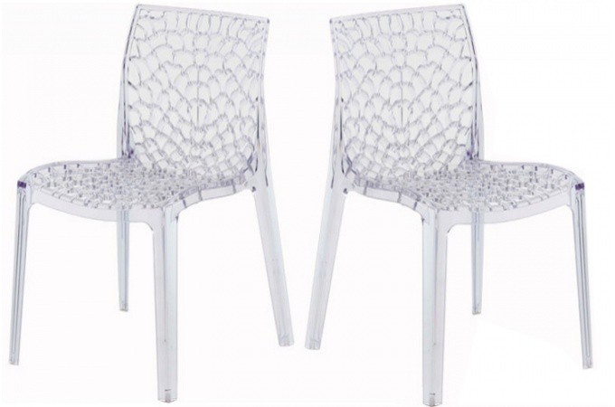 Lot de 2 chaises transparentes filet design sur sofactory - Chaises pliantes transparentes ...