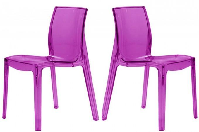 Lot de 2 chaises violette transparente lady chaises design pas cher - Chaise en polycarbonate pas cher ...