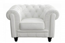 Fauteuil Chesterfield Simili Cuir Blanc  MINO