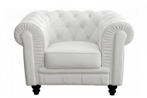 Fauteuil Chesterfield Simili Blanc MINO SoFactory