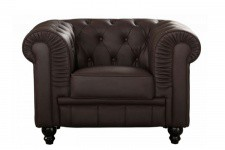 Fauteuil Chesterfield Simili Cuir Choco MINO