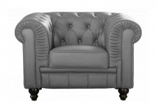 Fauteuil Chesterfield Simili Cuir Gris  MINO