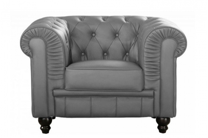 fauteuil chesterfield simili gris mino design sur sofactory. Black Bedroom Furniture Sets. Home Design Ideas