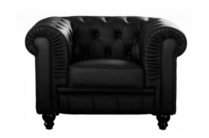 fauteuil chesterfield simili noir mino design sur sofactory. Black Bedroom Furniture Sets. Home Design Ideas