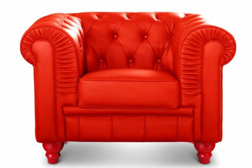 Fauteuil Chesterfield Simili Cuir Rouge  MINO