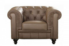 Fauteuil Chesterfield Simili Cuir taupe MINO
