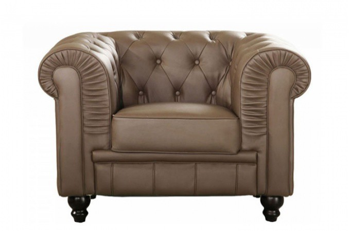 fauteuil chesterfield simili taupe mino design sur sofactory. Black Bedroom Furniture Sets. Home Design Ideas