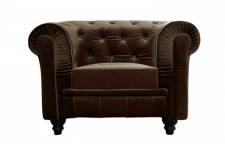 Fauteuil Chesterfield velours marron COLOR