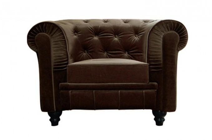 fauteuil chesterfield velours marron color design sur sofactory. Black Bedroom Furniture Sets. Home Design Ideas