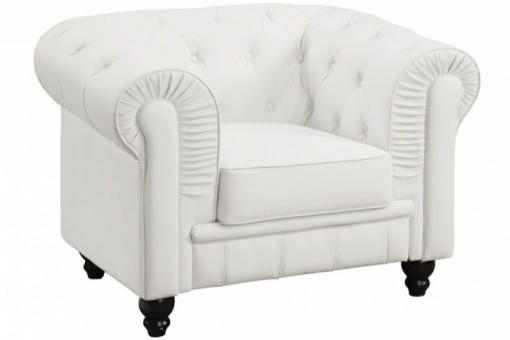 Fauteuil Chesterfield Simili Blanc MINO ME44414-0000