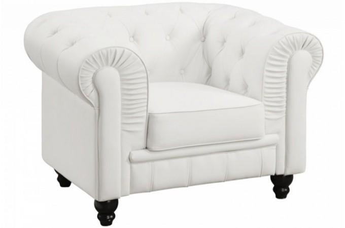 fauteuil chesterfield simili blanc mino design sur sofactory. Black Bedroom Furniture Sets. Home Design Ideas