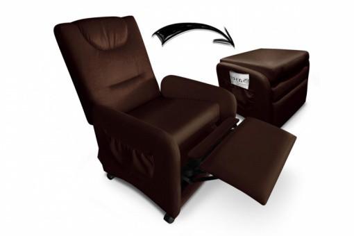 fauteuil relax marron avec repose pieds en simili zen design sur sofactory. Black Bedroom Furniture Sets. Home Design Ideas