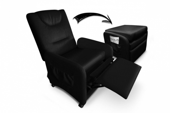 fauteuil relax noir avec repose pieds en simili zen design. Black Bedroom Furniture Sets. Home Design Ideas