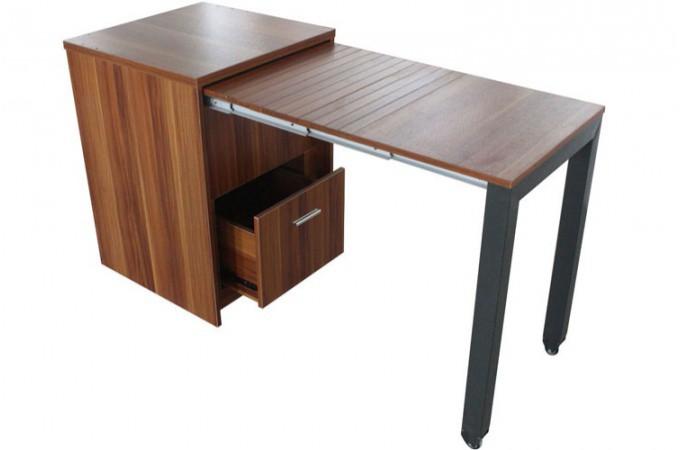 Commode transformable en bureau ch ne clair bureau for Meuble bureau tiroir coulissant