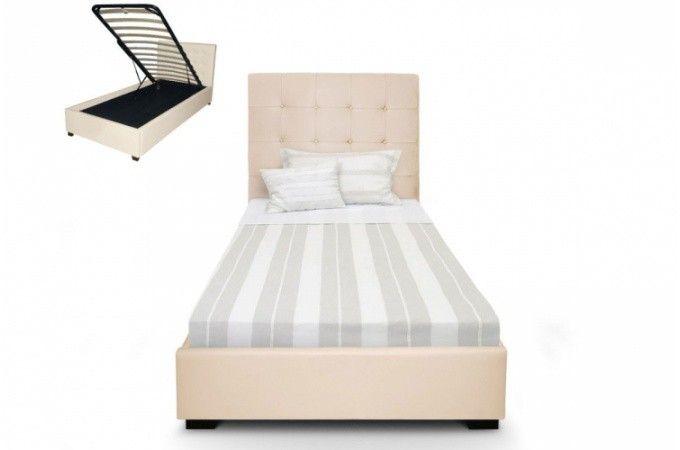 lit coffre avec t te de lit capitonn e beige 90x190cm design sur sofactory. Black Bedroom Furniture Sets. Home Design Ideas