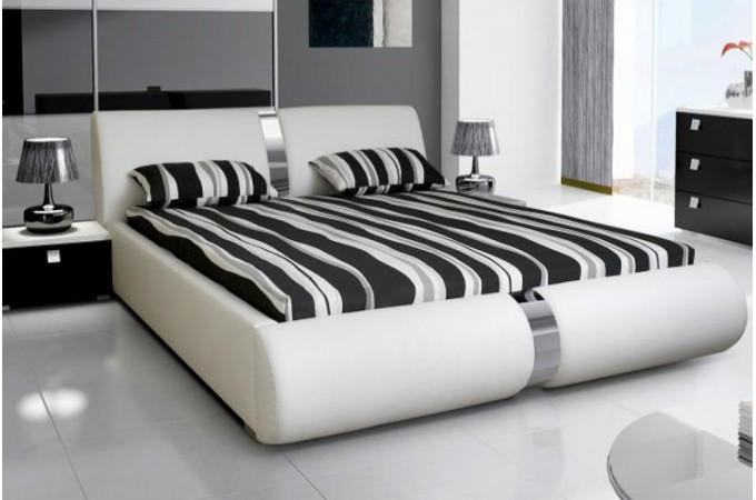 lit coffre sommier relevable blanc 160 cm macao design sur sofactory. Black Bedroom Furniture Sets. Home Design Ideas