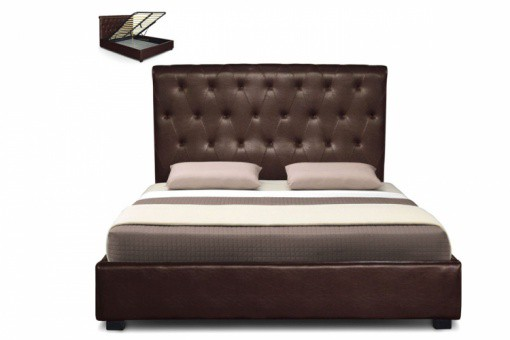 lit coffre en simili cuir marron et capitonn 180x200 cm maio design pas cher sur sofactory. Black Bedroom Furniture Sets. Home Design Ideas