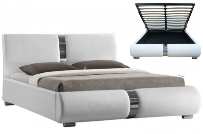 lit coffre sommier relevable blanc 160 cm macao design sur sofactory. Black Bedroom Furniture Sets. Home Design Ideas