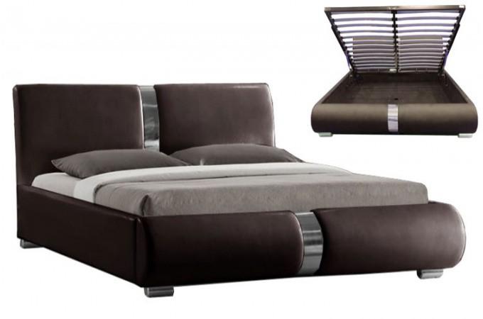 lit coffre sommier relevable chocolat macao 140 cm design sur sofactory. Black Bedroom Furniture Sets. Home Design Ideas