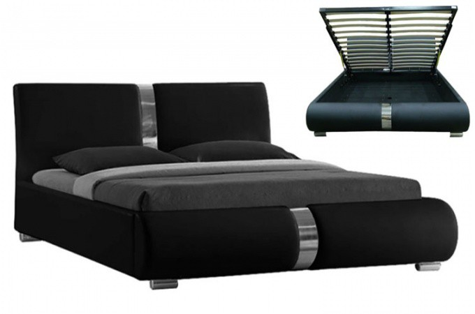 lit coffre sommier relevable noir macao 140 cm design sur sofactory. Black Bedroom Furniture Sets. Home Design Ideas
