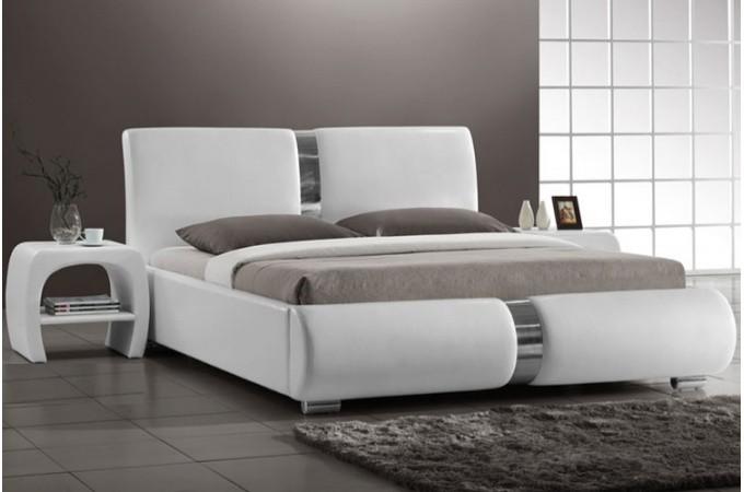 lit design blanc 140 cm macao design sur sofactory. Black Bedroom Furniture Sets. Home Design Ideas