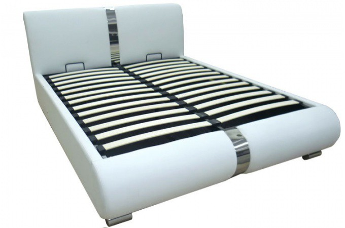 Lit coffre sommier relevable blanc 160 cm macao design pas cher sur sofactory - Sommier pour lit coffre ...