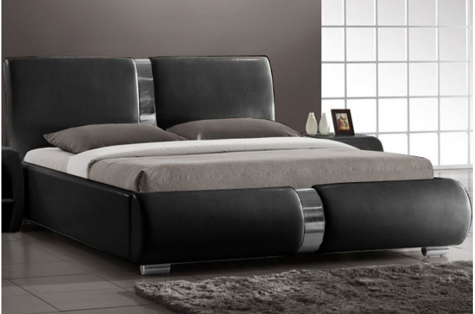 lit design noir macao 160x200 cm design sur sofactory. Black Bedroom Furniture Sets. Home Design Ideas