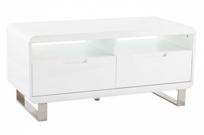 Meuble tv laqu blanc june design sur sofactory for Petit meuble tv blanc