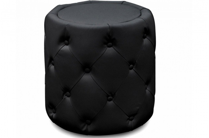pouf rond capitonn noir styx design pas cher sur sofactory. Black Bedroom Furniture Sets. Home Design Ideas