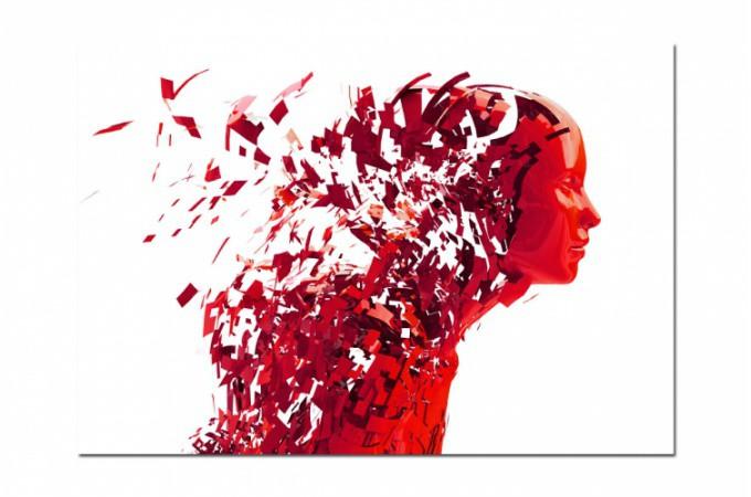 Tableau Abstrait Ton Rouge Femme destructurée L.80 x H.55 cm ...