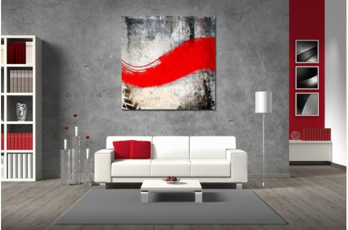 Tableau abstrait ton rouge maescha cm wassim déco design